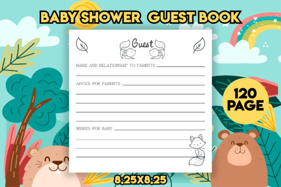 Cute Baby Shower Guest Book KDP Interior Graphic KDP Interiors By MK DESIGNS