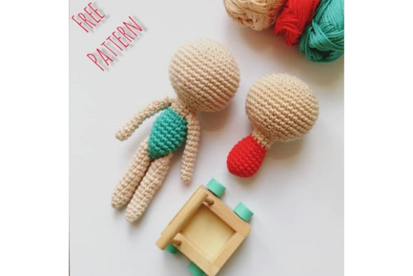 Doll Body Crochet Pattern Grafik Häkeln von Needle Craft Patterns Freebies