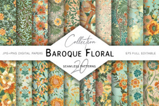 Flourish Baroque Patterns Gráfico Moldes Por digitalEye