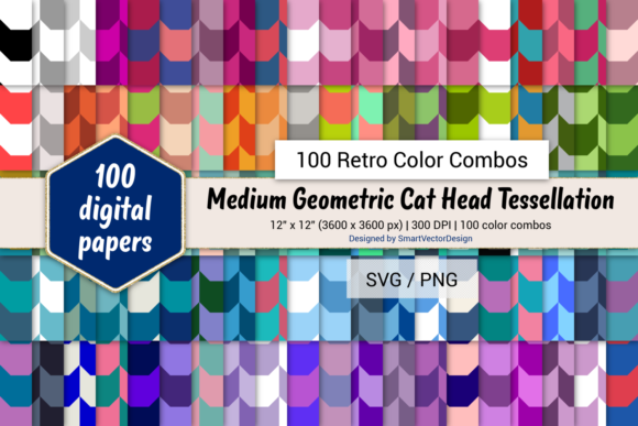 Print on Demand: Geom Cat Head Paper - 100 Retro Combos Graphic Backgrounds By SmartVectorDesign