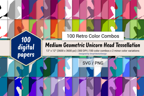 Print on Demand: Geom Unicorn Paper - 100 Retro Combos Graphic Backgrounds By SmartVectorDesign