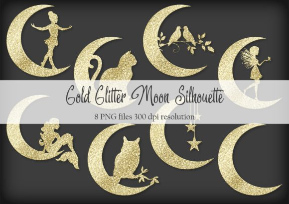 Print on Demand: Gold Glitter Moon Silhouette Graphic Objects By Simply Paper Craft