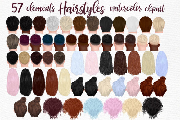 Hairstyles Clipart, Fashion Hairstyle Graphic Illustrations By LeCoqDesign