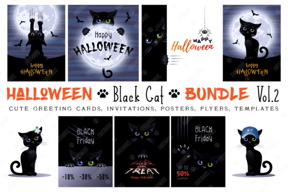 Halloween Big Bundle. Cute Black Cat. Graphic Illustrations By Natariis Studio