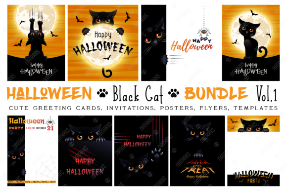Halloween Big Bundle with Cute Black Cat Graphic Graphic Templates By Natariis Studio