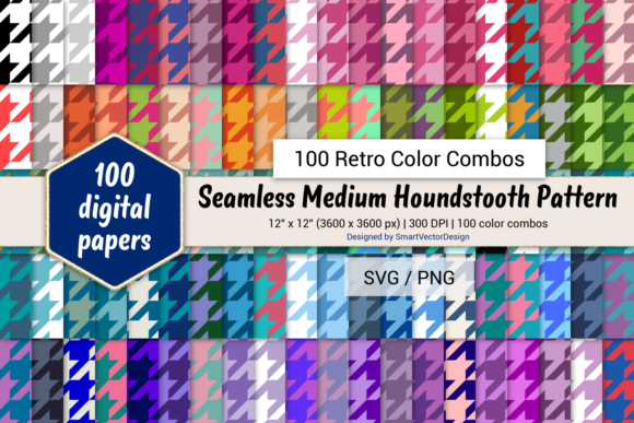 Print on Demand: Houndstooth Paper - 100 Retro Combos Graphic Backgrounds By SmartVectorDesign