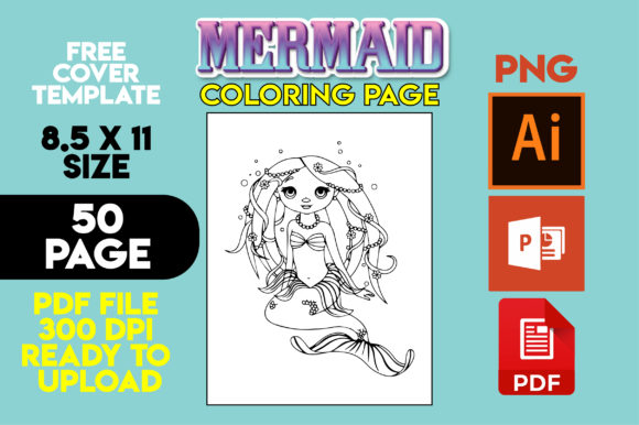 Print on Demand: Mermaid Coloring Pages for Kids Gráfico Libros para colorear - Niños Por MK DESIGNS
