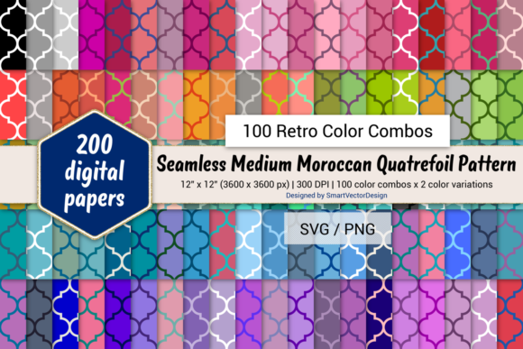 Print on Demand: Moroccan Quatrefoil Paper - 100 Retro Graphic Backgrounds By SmartVectorDesign