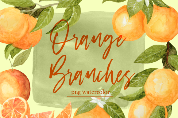 Print on Demand: Orange Branches Watercolor Clipart Set Graphic Illustrations By roselocket