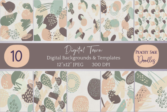 Peachy Sage Abstract Shape Digital Paper Graphic Backgrounds By Digital Town