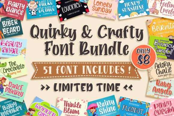 Print on Demand: Quirky & Crafty Font Bundle  By Blankids Studio