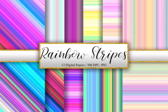 Rainbow Stripes Background Digital Paper Graphic Backgrounds By PinkPearly