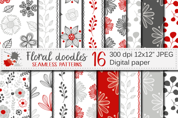 Red and Gray Floral Digital Paper Graphic Patterns By VR Digital Design