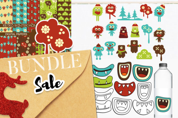 Print on Demand: Retro Monsters Bundle Graphic Illustrations By Revidevi