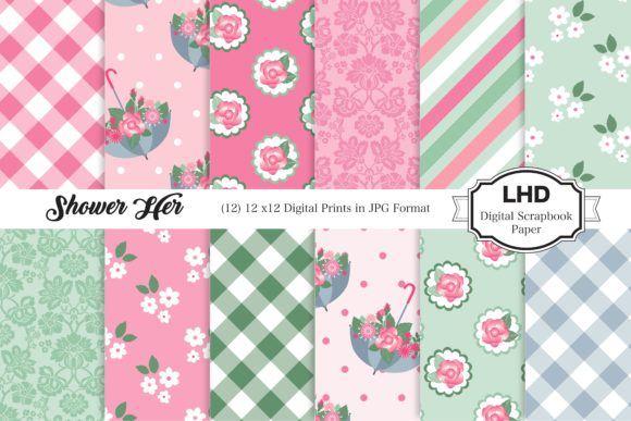 Shower Her Digital Paper - Pink Graphic Patterns By LeskaHamatyDesign