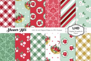 Shower Her Digital Paper - Red Graphic Patterns By LeskaHamatyDesign