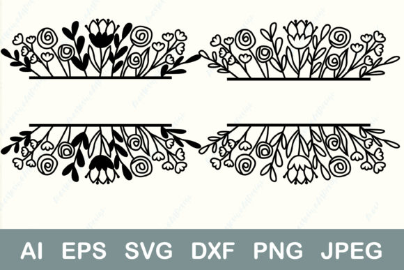 Split Monogram Flower Border   Graphic Crafts By AnastasiyaArtDesign