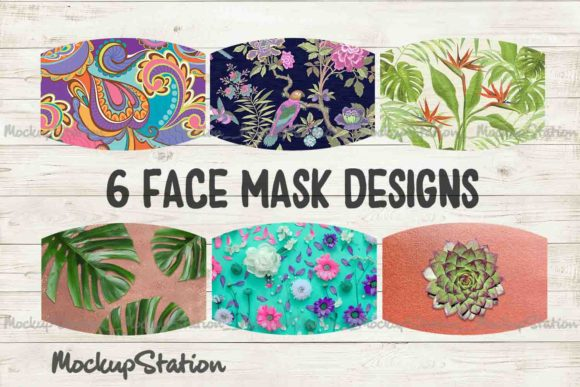 Print on Demand: Summer Tropical Face Mask Design Bundle Grafik Hintegründe von Mockup Station