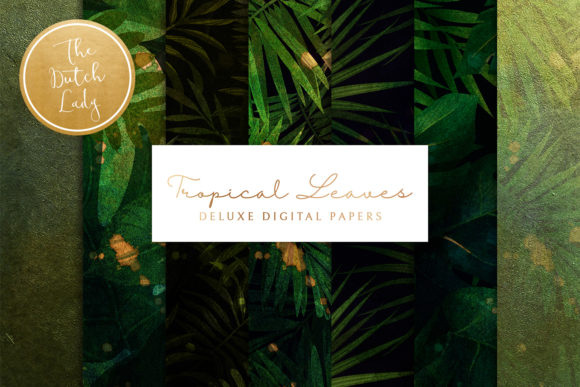 Print on Demand: Tropical Leaves & Jungle Backgrounds Graphic Backgrounds By daphnepopuliers