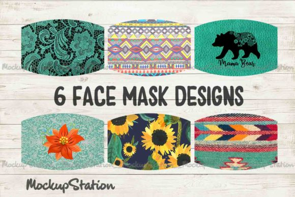 Print on Demand: Turquoise Sunflower Face Mask Design Graphic Backgrounds By Mockup Station - Image 1