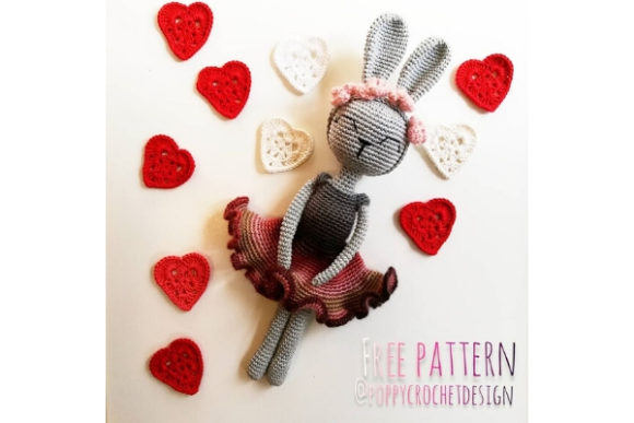 Valentine Bunny Crochet Pattern Grafik Häkeln von Needle Craft Patterns Freebies