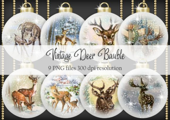 Print on Demand: Vintage Deer Bauble Graphic Objects By Simply Paper Craft