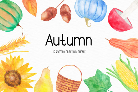 Watercolor Autumn Illustrations Graphic Illustrations By BonaDesigns
