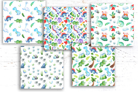 Watercolor Dinosaur Seamless Pattern Graphic Patterns By rabbitandpencil