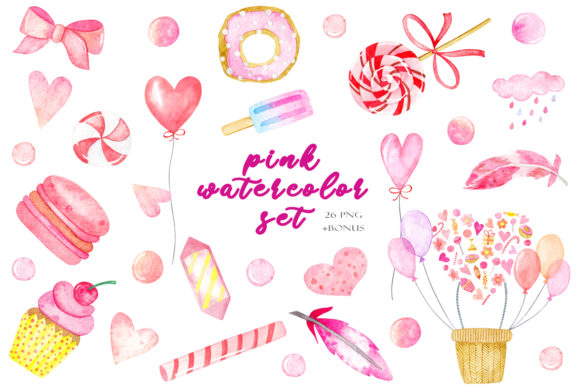 Watercolor Set of Cute Pink Clipart Graphic Illustrations By TanyaPrintDesign