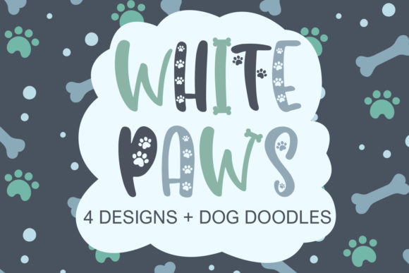 Print on Demand: White Paws Display Fuente Por freelingdesignhouse