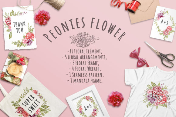 Print on Demand: Peonies Floral Set Illustration Graphic Illustrations By OrchidArt