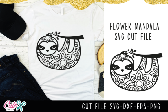Zentangle Sloth, Flower Mandala SVG Graphic Illustrations By Cute files