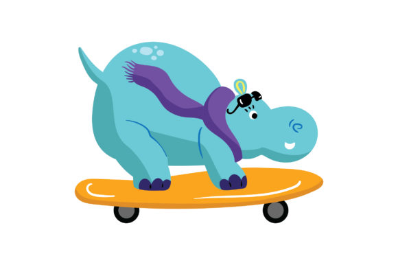 Skateboarding Hippopotamus Animals Craft Cut File By Creative Fabrica Crafts