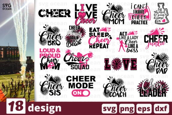 Print on Demand: 18 Cheer Quotes Bundle Graphic Crafts By SvgOcean