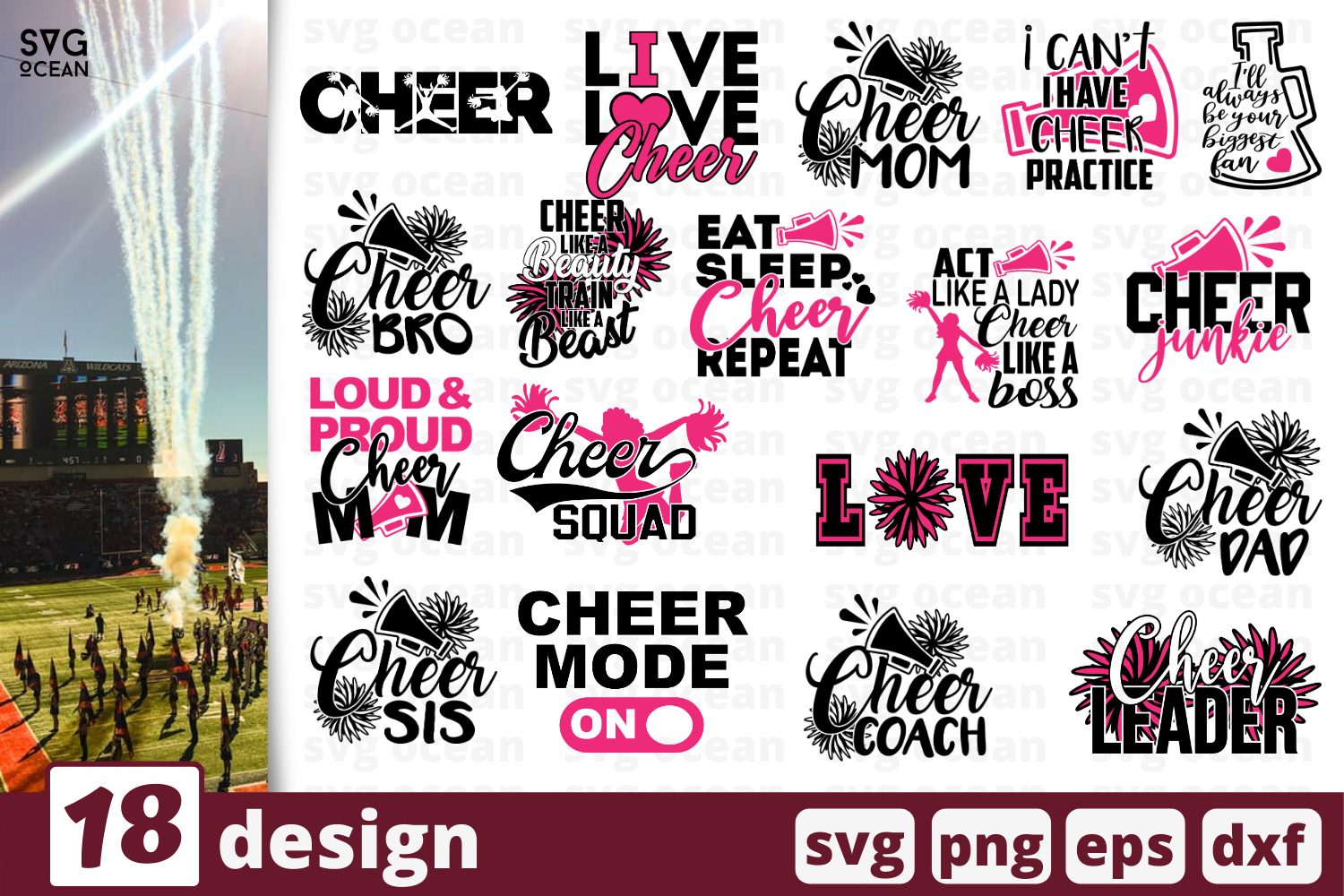 18 Cheer Quotes Bundle SVG File