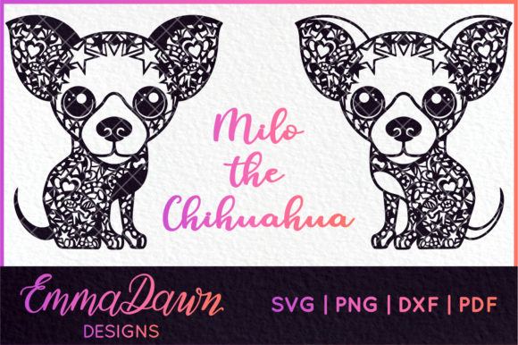2 Chihuahua Mandala Zentangle Graphic Crafts By Emma Dawn Designs