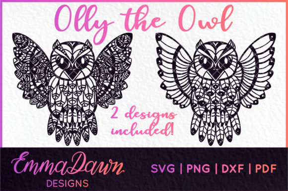 2 Feathered Owl Mandala Graphic Crafts By Emma Dawn Designs