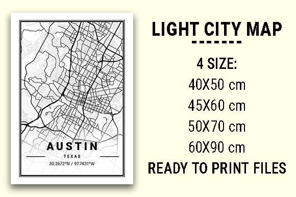 Print on Demand: Austin Light City Map Graphic Photos By tienstencil