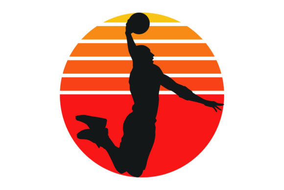 Print on Demand: Basketball Retro Vintage Sunset File Graphic Logos By SunandMoon