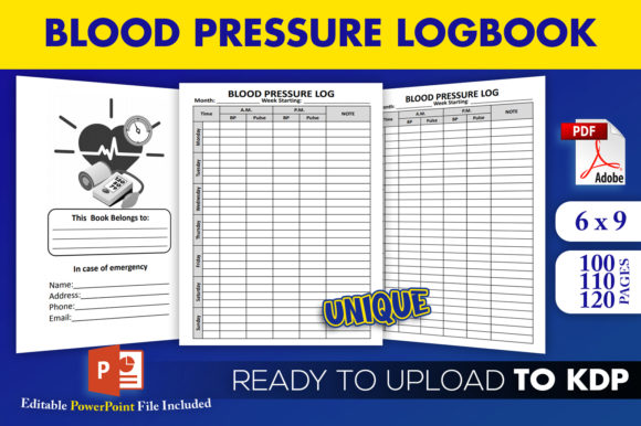 Print on Demand: Blood Pressure Log Tracker KDP Interior Graphic KDP Interiors By Beast Designer