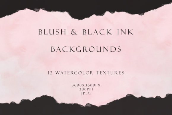 Blush and Ink Watercolor Backgrounds Graphic Backgrounds By liquid amethyst art