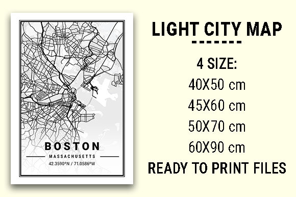 Print on Demand: Boston Light City Map Graphic Photos By tienstencil