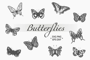 Butterfly Silhouettes Collection Graphic Illustrations By Kirill's Workshop
