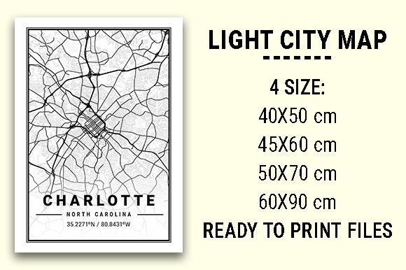 Print on Demand: Charlotte Light City Map Graphic Photos By tienstencil