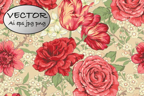Chintz Floral Pattern Rose and Tulip Graphic Patterns By emikundesigns
