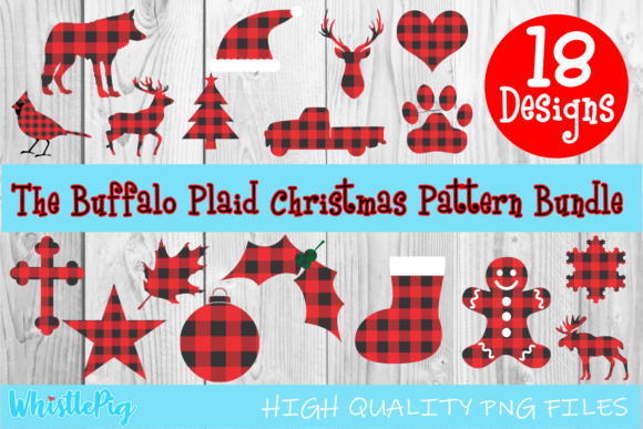 Print on Demand: Christmas Buffalo Plaid Bundle Graphic Crafts By Whistlepig Designs