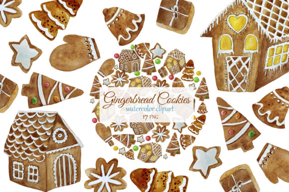 Print on Demand: Christmas Gingerbread Cookies Clipart Graphic Illustrations By s.yanyeva