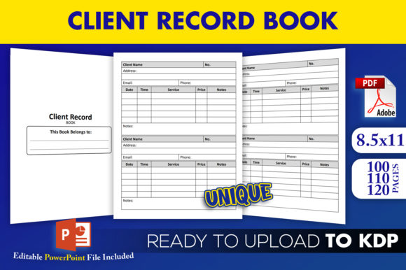 Print on Demand: Client Record Book Editable KDP Interior Graphic KDP Interiors By Beast Designer