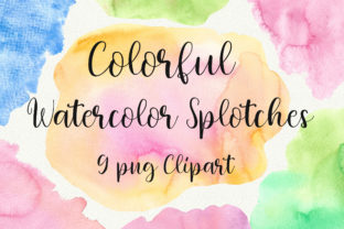 Colorful Watercolor Splotches Clip Art Graphic Backgrounds By PinkPearly