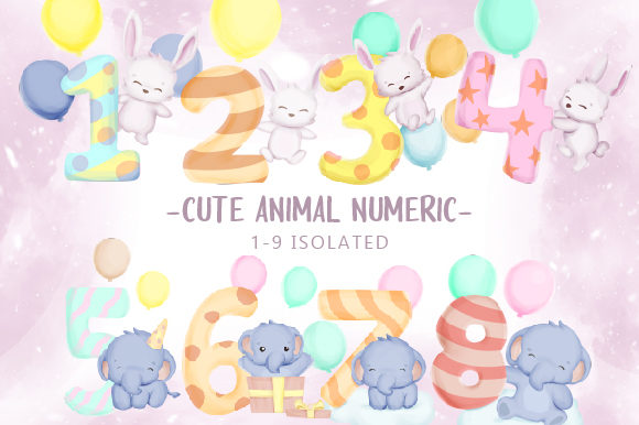 Cute Animal with Numeric Gráfico Ilustraciones Por alolieli